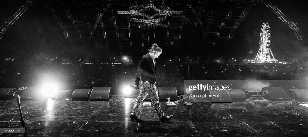 Post Malone performs onstage the 2018 Coachella Valley Music And Arts Festival at the Empire Polo Field on April 14, 2018 in Indio, California.