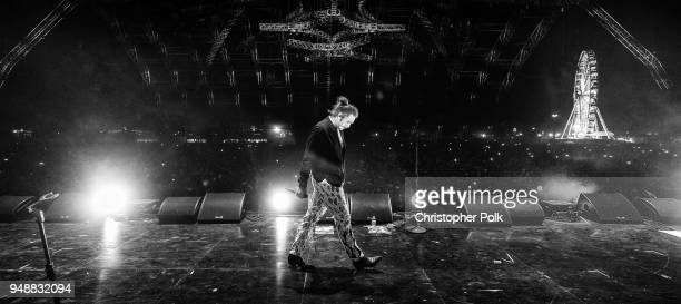 Image has been converted to black and white Post Malone performs onstage the 2018 Coachella Valley Music And Arts Festival at the Empire Polo Field...