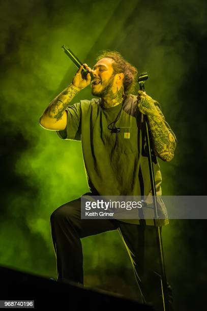 Post Malone performs to a sold out crowd at The Lawn at White River State Park on June 6, 2018 in Indianapolis, Indiana.