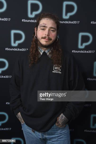 Post Malone poses backstage at Pandora Sounds Like You 2017 on December 5 2017 in New York City