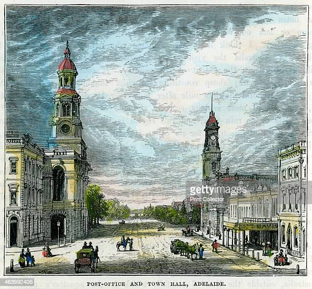 'Post Office and Town Hall Adelaide' South Australia Australia c1880 Adelaide's Town Hall was designed by Edmund Wright and built between 1863 and...