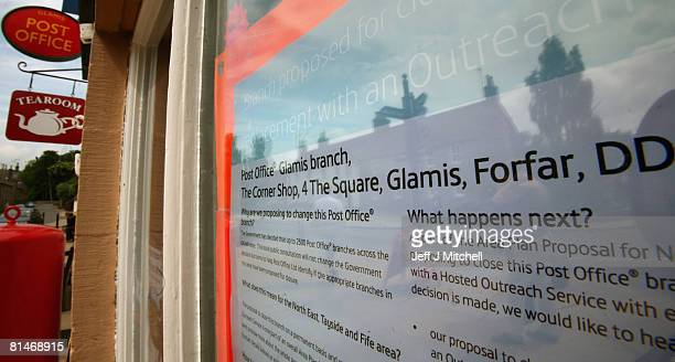 A post office information sign is placed in the window of Glamis Post Office June 6 2008 in Glamis Scotland The Post Office was earmarked for closure...