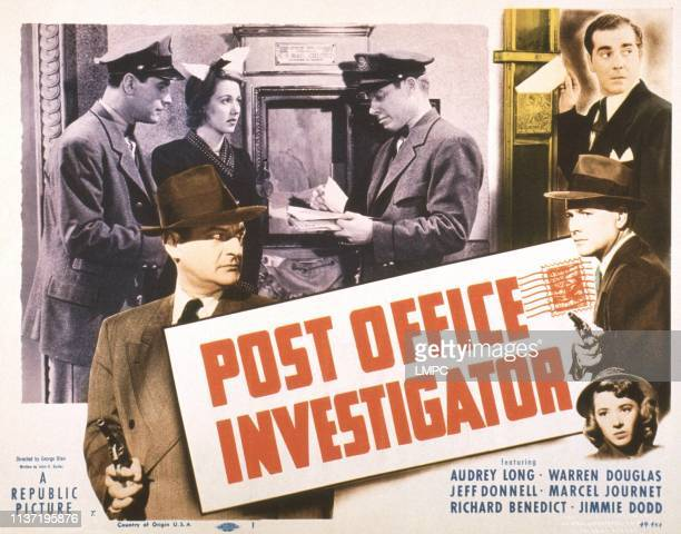Post Office Investigator poster US poster thomas Browne Henry rear from left Warren Douglas Audrey Long Jimmie Dodd right from top Danny Morton...