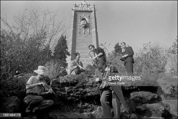 Post punk band Maximum Joy, group portrait in Bristol 9 February 1982.