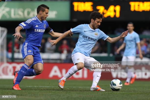 Post Season Friendly Chelsea v Manchester City Busch Stadium Chelsea's Cesar Azpilicueta and Manchester City's David Silva battle for the ball