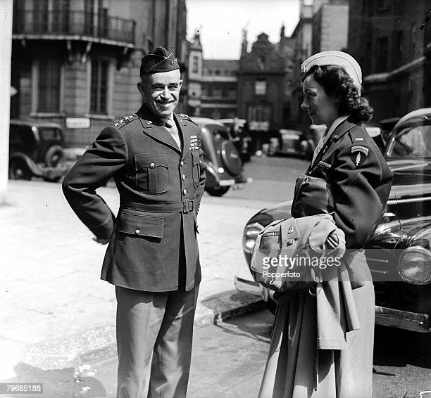 Post World War II 16th May 1945 London England General Bradley pictured with Lieutenant Kay Summersby General Eisenhowers secretary
