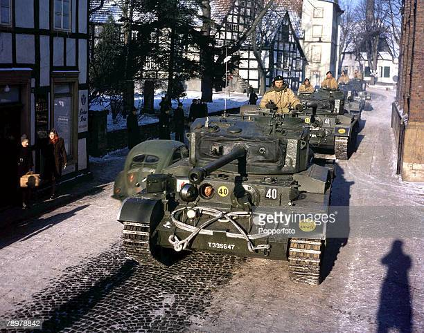 Post World War II British Army of Occupation of the Rhine Tanks of the 7th Armoured Divison HQ Squadron passing through Halle