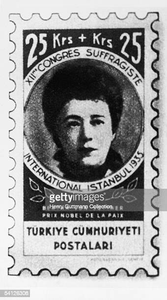 A postage stamp bearing the face of Austrian novelist pacifist and Nobel laureate Baroness Bertha von Suttner issued to commemorate the 12th...