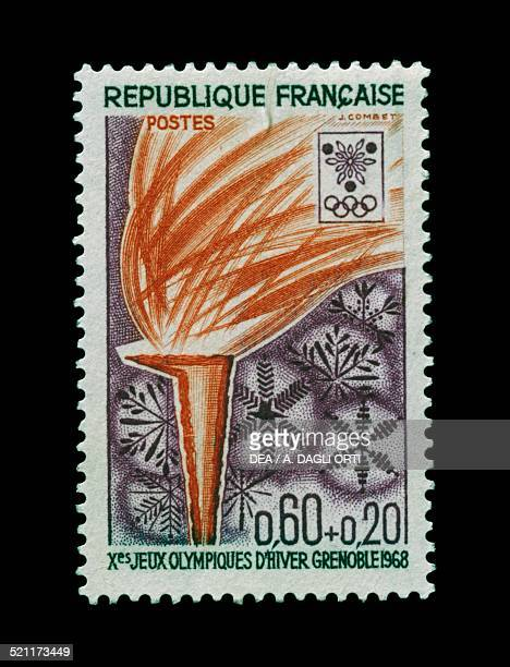 Postage stamp commemorating 10th Olympic Winter Games Grenoble depicting the Olympic Flame France 20th century France