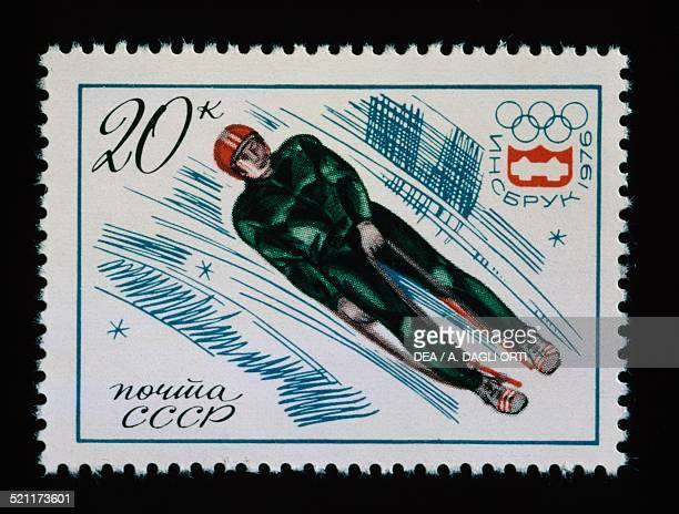 Postage stamp commemorating 12th Olympic Winter Games in Innsbruck depicting the Luge Soviet Union 20th century Russia