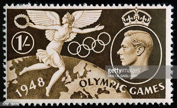 Postage stamp commemorating 14th Olympic Games in London with the portrait of George VI . United Kingdom, 20th century. United Kingdom