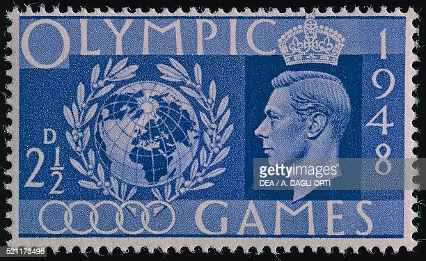 Postage stamp commemorating the 14th Olympic Games in London with the portrait of George VI United Kingdom 20th century United Kingdom