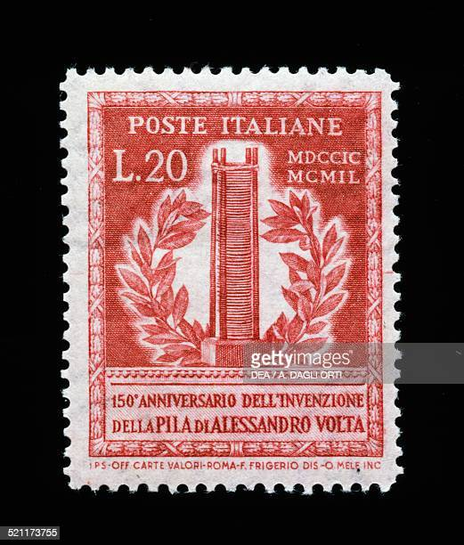 Postage stamp commemorating the 150th anniversary of the Invention of the battery by Alessandro Volta chalcographic printing Italy 20th century Italy