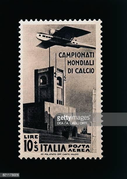 Postage stamp commemorating the 1934 FIFA World Cup 10 lire and 5 airmail stamp Italy 20th century Italy