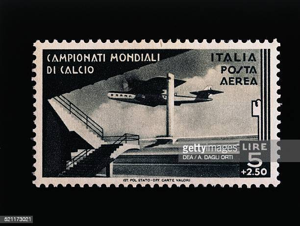 Postage stamp commemorating the 1934 FIFA World Cup 5 lire and 250 airmail stamp Italy 20th century Italy