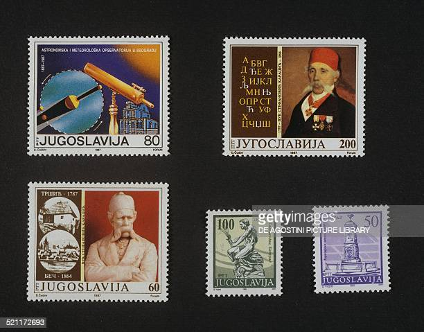 Postage stamp commemorating the Centenary of the Astronomical Observatory of Belgrade top right and bottom left series honouring the writer Vuk...