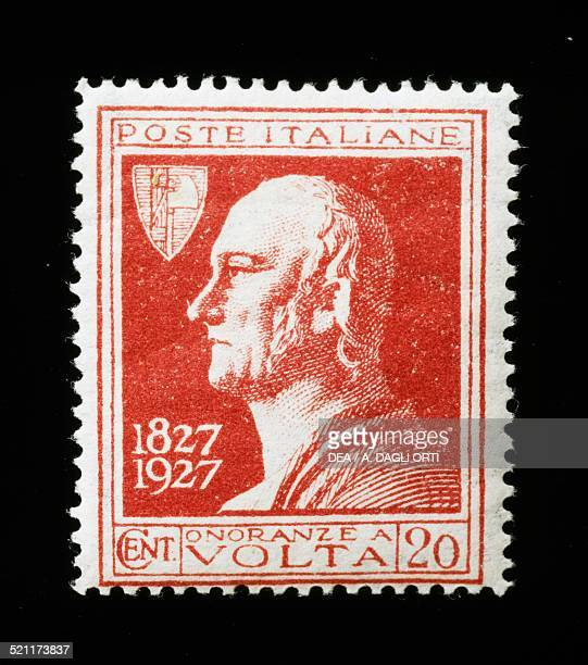 Postage stamp commemorating the Centenary of the death of Alessandro Volta 1927 Italy 20th century Italy