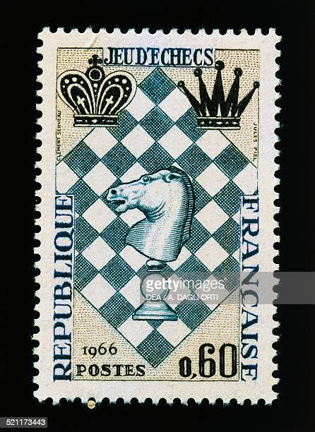Postage stamp commemorating the International Chess Festival 1966 France 20th century France