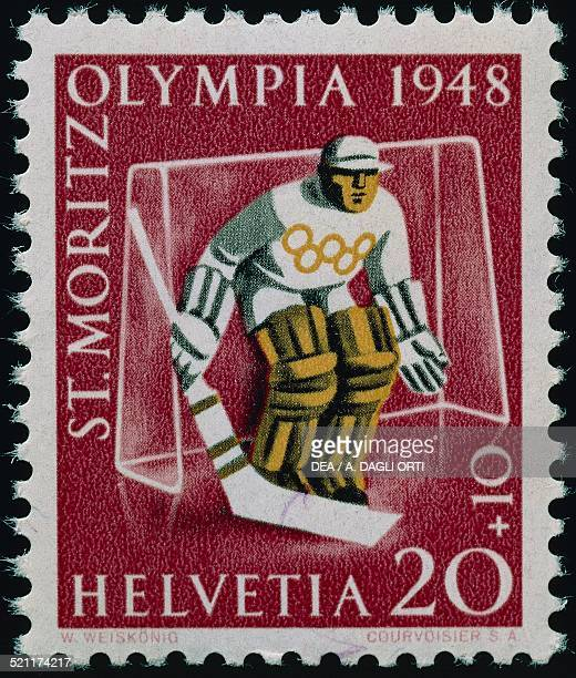 Postage stamp commemorating the Winter Olympic Games in St Moritz 1948 Switzerland 20th century Switzerland