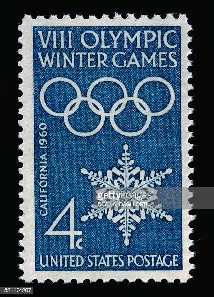 Postage stamp commemorating the Winter Olympics in Squaw Valley 1960 United States of America 20th century United States