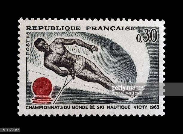Postage stamp commemorating the World water skiing champions 1963 France 20th century France