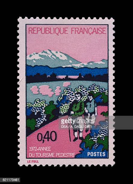 Postage stamp commemorating the Year of hiking 1972 France 20th century France