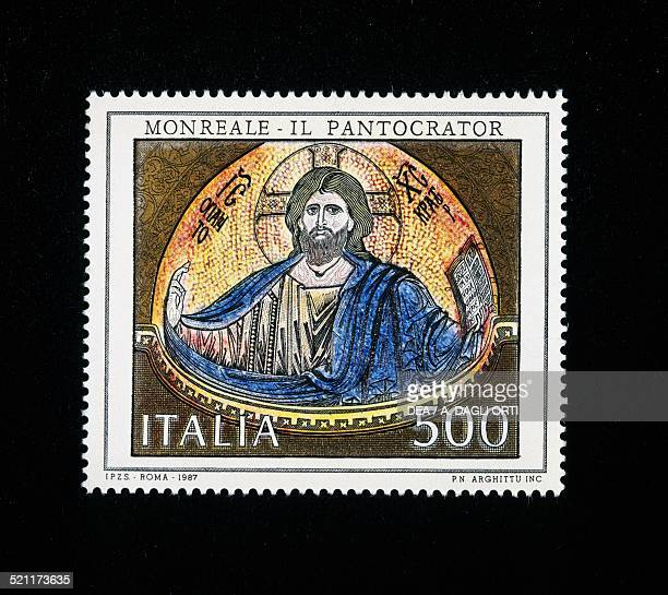 Postage stamp depicting Christ Pantocrator blessing from the Cathedral of Monreale Sicily 500lire stamp 1987 Italy 20th century Italy