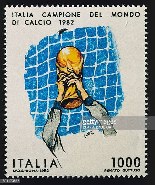 Postage stamp depicting Italian goalkeeper Dino Zoff holding the World Cup trophy aloft Italy World Cup champions series designed by Renato Guttuso...