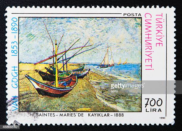 Postage Stamp Fishing Boats on the Beach at Saintes-Maries