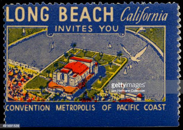 A postage stamp for Long Beach in California reads 'Long Beach California invites you convention metropolis of Pacific Coast' from 1936 in USA