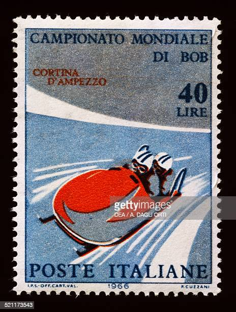 Postage stamp for the 1966 FIBT World Championship in Cortina d'Ampezzo Italy 20th century Italy