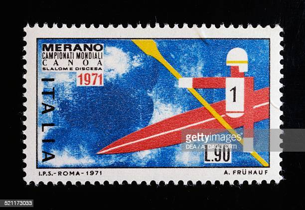 Postage stamp for the 1971 ICF Canoe Slalom World Championships in Meran Italy 20th century Italy