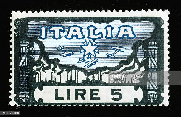 Postage stamp for the Anniversary of the March on Rome series, depicting airplanes in flight and factories, 5-lire stamp, 1923. Italy, 20th century....