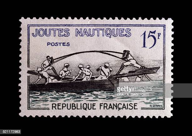 Postage stamp from the series honouring Traditional games depicting Water jousting France 20th century France