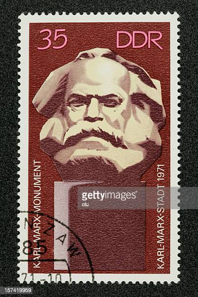 postage stamp karl marx german democratic republic - karl marx stock photos and pictures