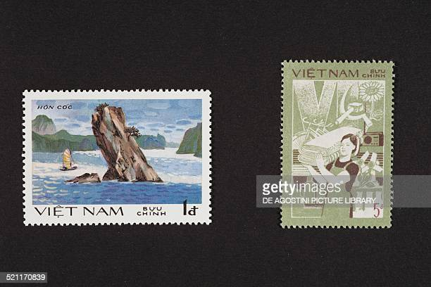 Postage stamp of the Views of Ha Long Bay series depicting an island in the Gulf of Tonkin postage stamp from the series issued by the 6th Congress...