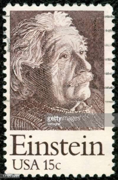 us postage stamp - albert einstein stock pictures, royalty-free photos & images