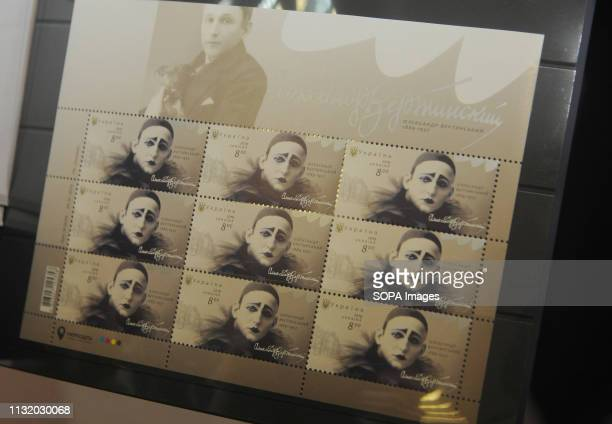 Postage stamp with the image of the pop artist of Ukrainian origin Alexander Vertinsky at an exhibition during the opening A monument to the...