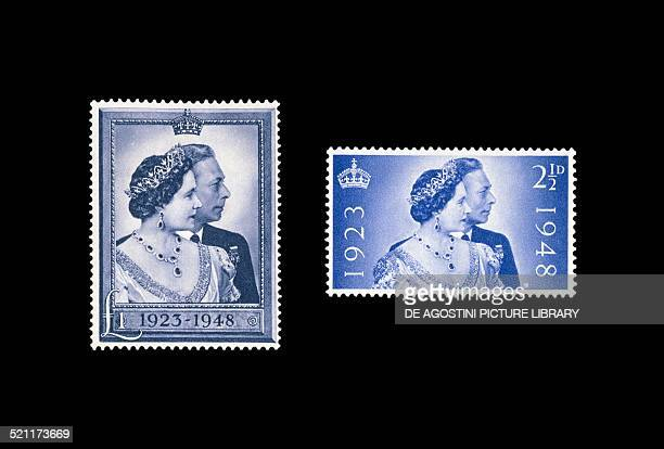 Postage stamps commemorating the 25th anniversary of the marriage of George VI and Elizabeth Bowes-Lyon . United Kingdom, 20th century. London,...