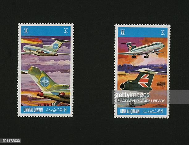 Postage stamps from the Airliners series depicting Pan Am Boeing 727 and BEA De Havilland Trident Umm AlQaiwain United Arab Emirates 20th century...