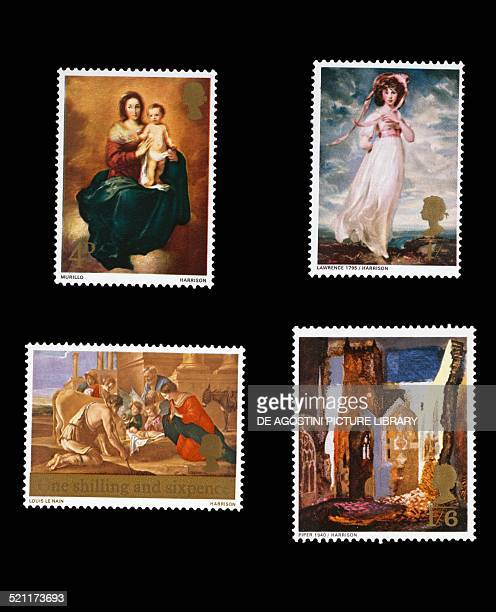 Postage stamps from the Christmas series depicting bottom and top left Madonna and Child by Bartolome Esteban Murillo and the Adoration of the...