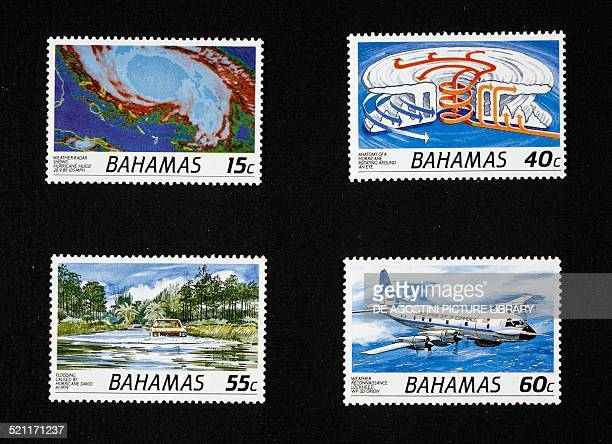Postage stamps from the Hurricanes series depicting from left to right and from top to bottom eye of hurricane seen from weather radar pattern of...