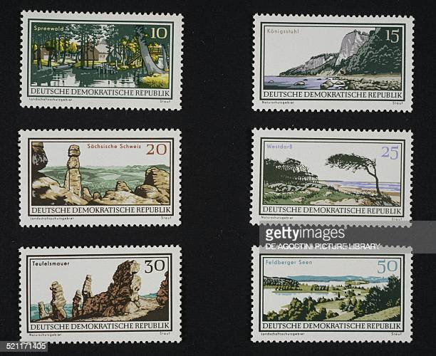 Postage stamps from the National parks series depicting top from left Spreewald and Koenigsstuhl centre from the left Sachsische Schweiz and West...