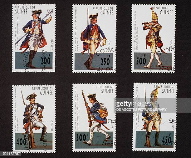 Postage stamps from the Old German military uniforms series depicting from left to right and from top to bottom officer of the Von Witerfeld infantry...