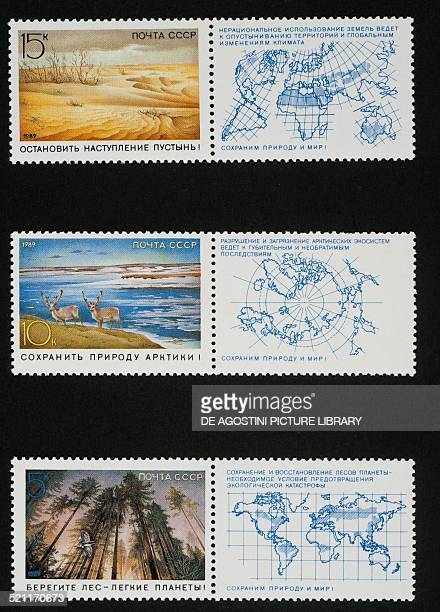 Postage stamps from the Protection of world nature series depicting from top The desert the Antarctic and the Forest with respective maps attached...