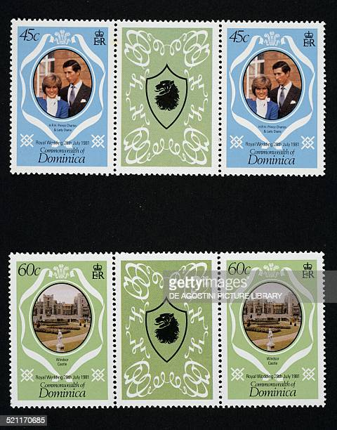 Postage stamps from the series commemorating Prince Charles and Lady Diana Spencer's marriage depicting Charles and Diana and Windsor Castle; the...
