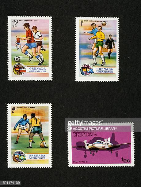 Postage stamps from the series commemorating the 1974 FIFA World Cup in Germany depicting games between Federal Republic of GermanyChile...