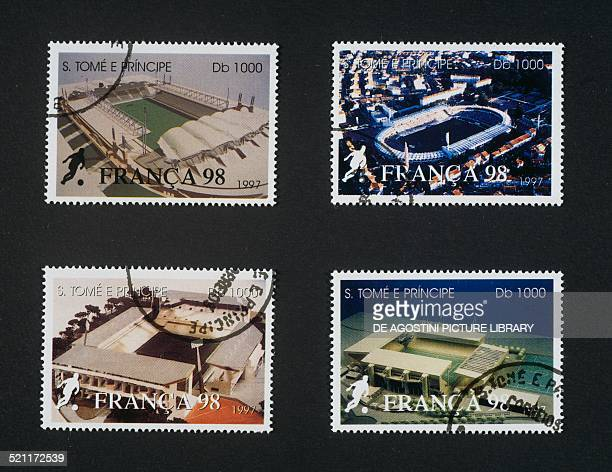 Postage stamps from the series commemorating the 1998 FIFA World Cup in France depicting the stadiums Sao Tome and Principe 20th century Sao Tome and...