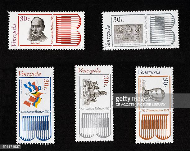 Postage stamps from the series commemorating the 2nd centenary of the birth of Simon Bolivar 19811983 depicting from left to right and from top to...
