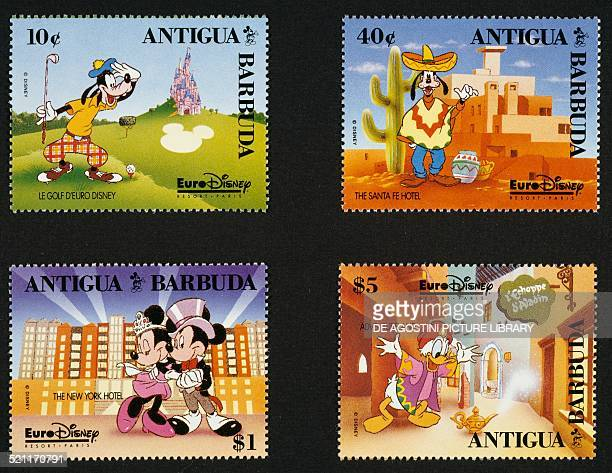 Postage stamps from the series commemorating the opening of EuroDisney in Paris depicting from left to right and from top to bottom Goofy playing...